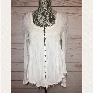 Free People White Button Down Frayed Hem Top Sz S